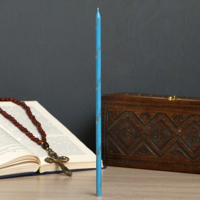 Свеча праздничная, голубая, цена за 1 шт, в упакове 25 шт