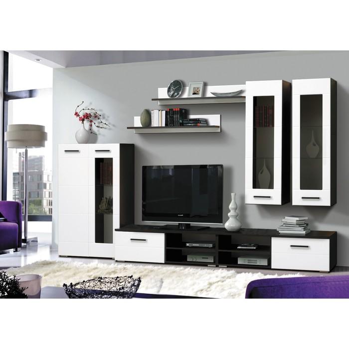 Гостиная «Грация 1.1», 3200 × 520 × 2000 мм, фасады МДФ, цвет венге / белый глянец