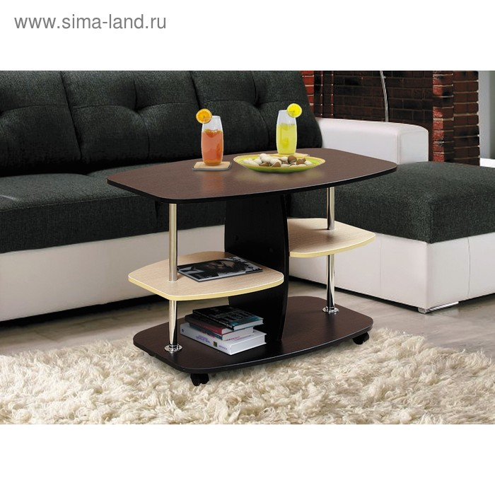Стол журнальный №2, 900 × 500 × 505 мм, цвет венге / дуб выбеленный матовый