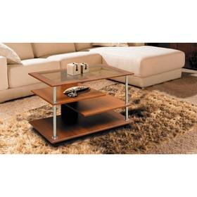 Стол журнальный №4 со стеклом, 900 × 500 × 600 мм, цвет вишня оксфорд