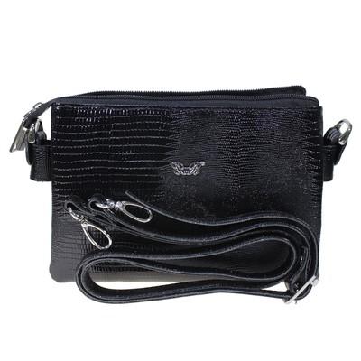 Сумка женская, наружный карман, плечевой ремень, чёрный ящер - Фото 1