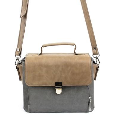 Сумка-мессенджер, наружный карман, длинный ремень, цвет серый/коричневый - Фото 1