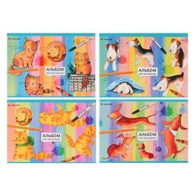 Альбом для рисования А5, 16 листов на скрепке «Нарисованные котята и щенки», МИКС Ош