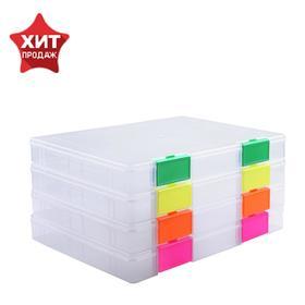 Папка для документов А4, с цветными защёлками Neon, 235 х 310 х 40 мм, прозрачный, МИКС Ош
