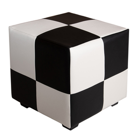 Пуф квадратный Марио 400х400х380 Черно-белый Ош