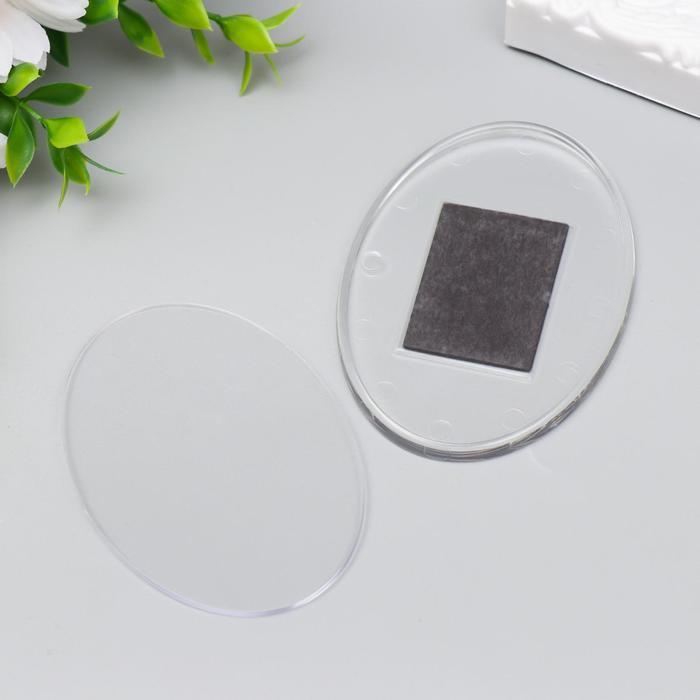 Заготовка акрилового магнита 85х60 мм овал прозрачный набор 2 деталипакет