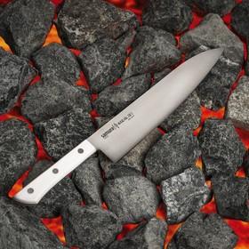 Нож Samura HARAKIRI гранд шеф, лезвие 24 см, белая рукоять, сталь AUS-8