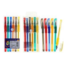 Набор гелевых ручек, 6 цветов, с блёстками, с резиновым держателем, в блистере