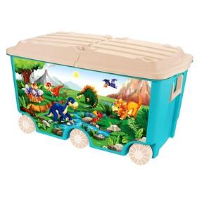 Ящик для игрушек на колёсах с декором, 66,5 л, цвет голубой
