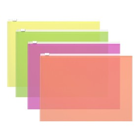 Папка-конверт на гибкой молнии Zip, B5, 140 мкм, Fizzy Neon, микс