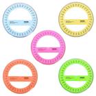 Транспортир чертёжный 360°, диаметр 14 см, прозрачный, цветной, с фасками