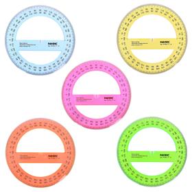 Транспортир 360*/14 см, прозрачный, цветной, с фасками