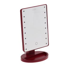 Зеркало MARTA MT-2654, подсветка, 28x6x19.5 см, 16 светодиодов, 4хАА, цвет 'бордовый гранат' Ош