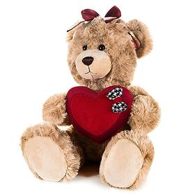 Мягкая игрушка «Мишка Моника» с сердцем и бантиком на голове, 20 см
