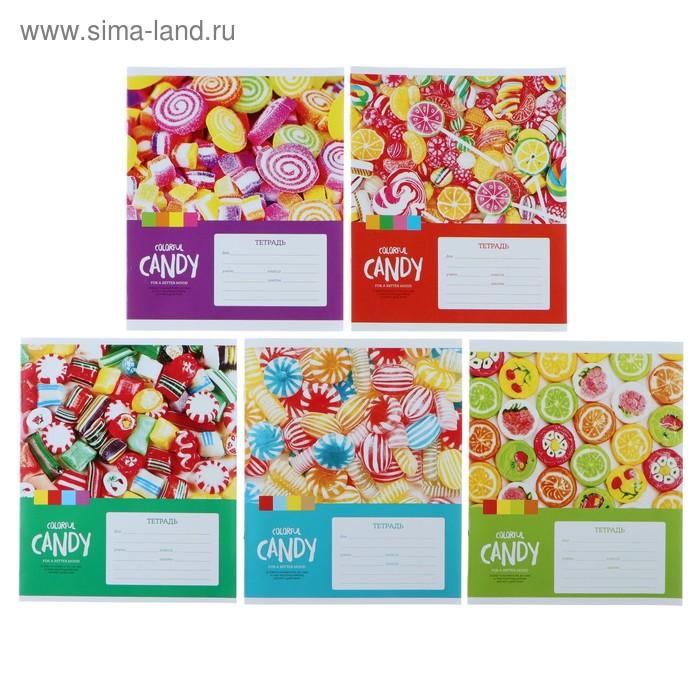 Тетрадь 12 листов клетка «Леденцы. Colorful candy», обложка мелованный картон, ВД-лак, МИКС