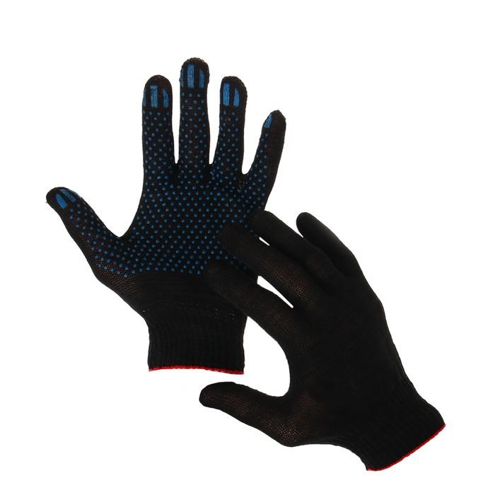 Перчатки, хб, вязка 10 класс, 3 нити, размер 9, с ПВХ, чёрные