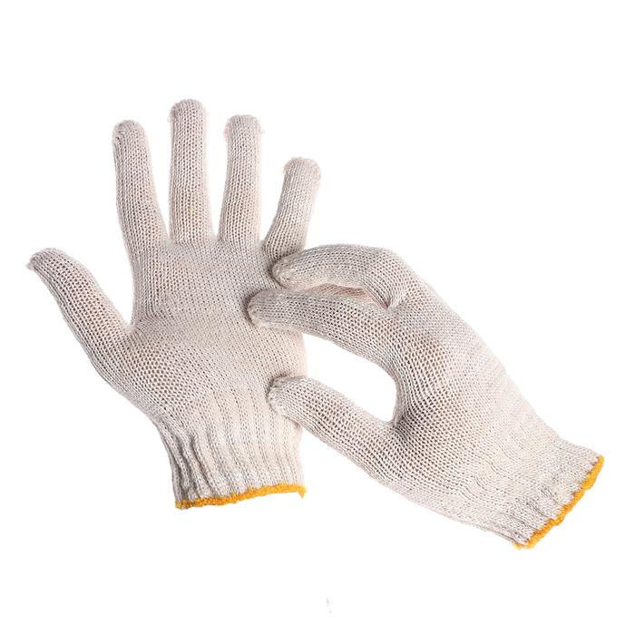 Перчатки, хб, вязка 7 класс, 4 нити, размер 9, без покрытия, белые