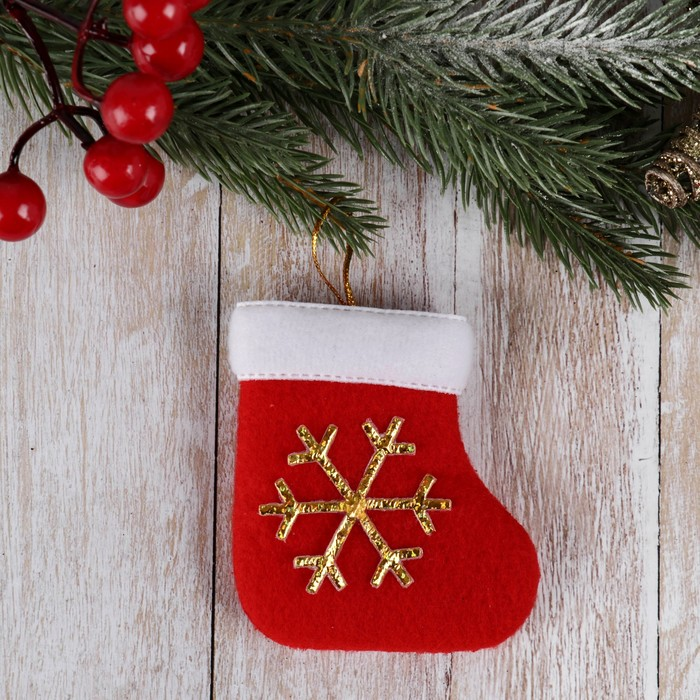 Мягкая подвеска Носок - снежинка 86 см, красный