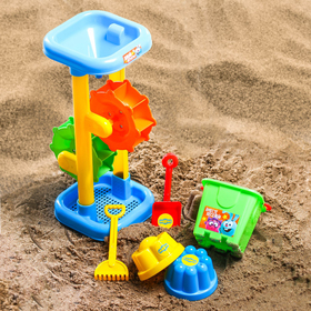 Набор для игры в песке: ведро, мельница, совок, грабли, 2 формочки, СМЕШАРИКИ цвет МИКС, 530 мл