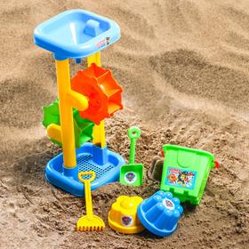 Набор для игры в песке: ведро, мельница, совок, грабли, 2 формочки, цвет МИКС, 530 мл