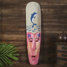 Настенная маска 'Дельфин' дерево,песок  2,5х11х50 см Ош