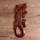 """Панно настенное дерево """"Геккон бордовый с орнаментом"""" 1х11х30 см"""
