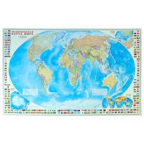 Карта Мира политическая с флагами, 124 х 80 см, 1:24 млн.
