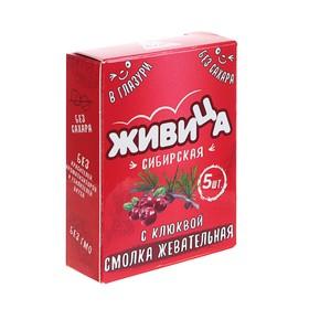 Смолка жевательная «Живица Сибирская» в глазури без сахара с клюквой и пчелиным воском