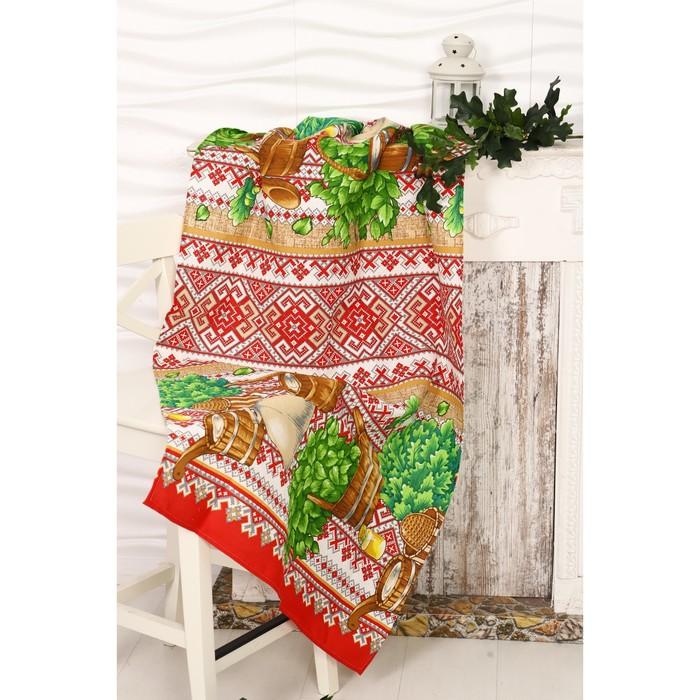 Вафельное полотенце «Русская баня», размер 80х150 см, разноцветный, хлопок