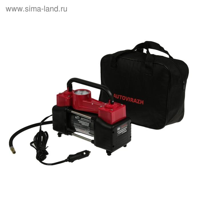 Компрессор автомобильный, двухцилиндровый Autovirazh AV-010888, 85 л/мин, с манометром