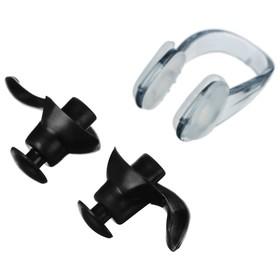 Беруши для плавания+зажим для носа, силикон, цвета МИКС Ош