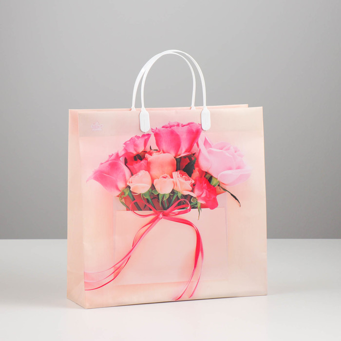"Пакет ""Конвертик с розами"", мягкий пластик, 30 х 30 см, 137 мкм"