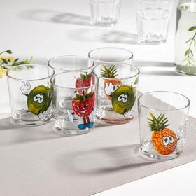 Набор стаканов GiDGLASS «Фрутис», 6 шт, 250 мл, рисунок МИКС