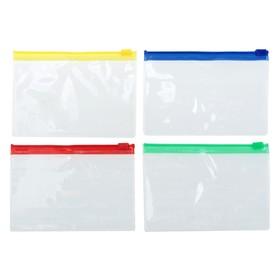 Папка-конверт на молнии, формат А7+, 200 мкр, прозрачная молния, 8.5х13 см Ош