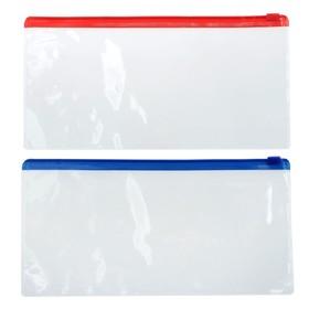 Папка-конверт на молнии, А65, прозрачная, 200 мкр Ош