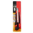 Нож канцелярский, лезвие 9 мм, пластиковый, с резиновым держателем, с металлическими направляющими, с фиксатором