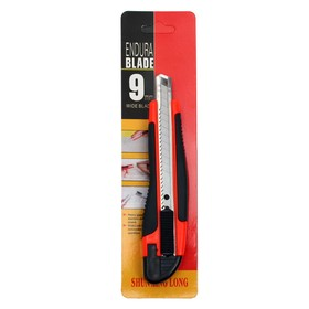 Нож канцелярский, лезвие 9 мм, пластиковый, с резиновым держателем, с металлическими направляющими, с фиксатором Ош