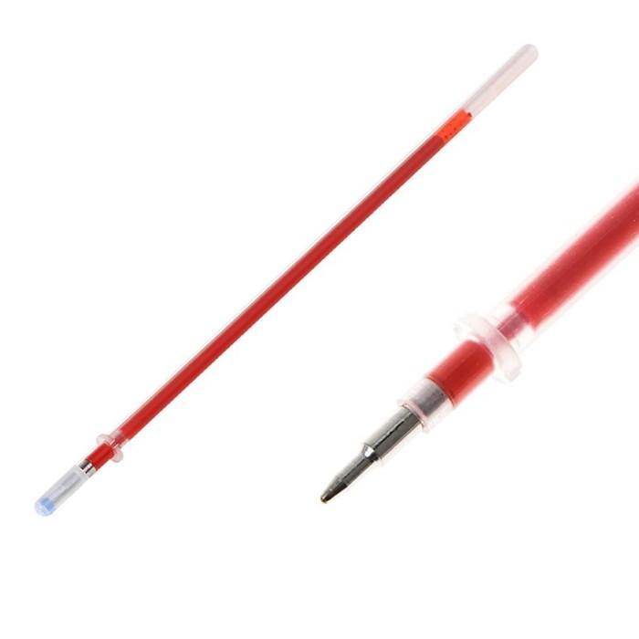 Стержень гелевый красный, 0.5 мм, d-3 мм, L-128 мм, игольчатый пишущий узел