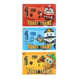 Альбом для рисования А4, 12 листов на скрепке, ROBOT TRAINS, картонная обложка, МИКС Ош