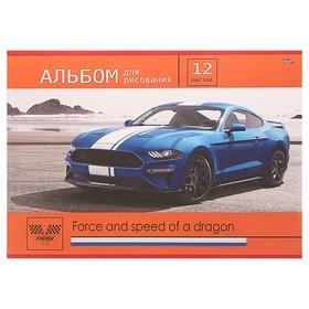 Альбом для рисования А4, 12 листов «Синее авто на берегу», бумажная обложка Ош