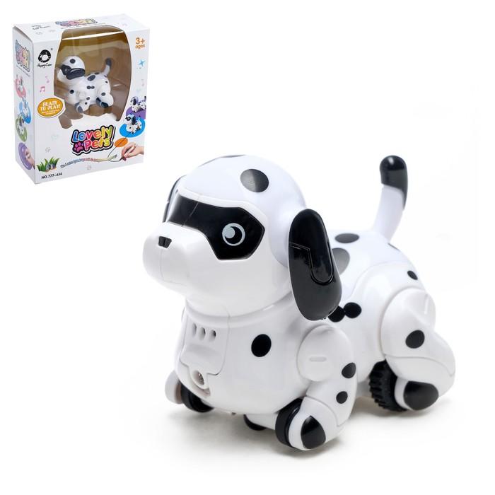 Робот-собака «Далматинец», световые и звуковые эффекты, работает от батареек, ездит по линии