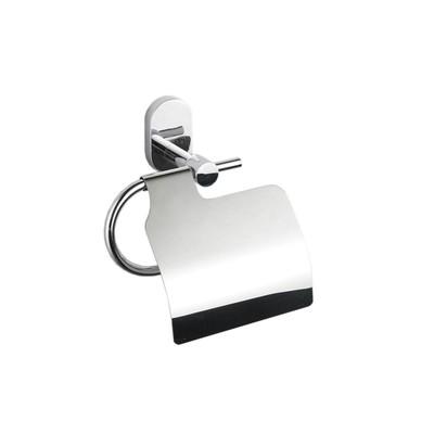 Держатель туалетной бумаги Flora, с крышкой, цвет хром - Фото 1
