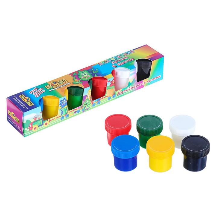 Краски пальчиковые, набор 6 цветов х 40 мл, «Спектр», 240 мл, «Яркая забава» (от 3-х лет)