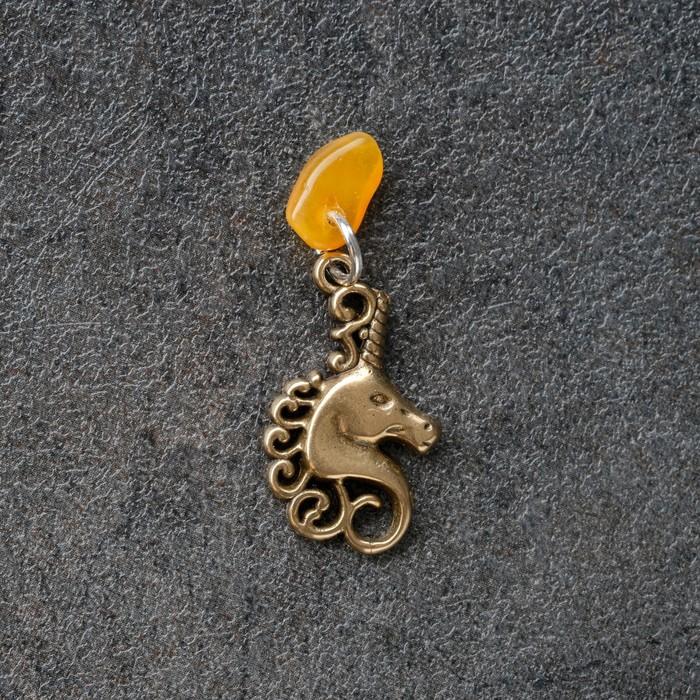 Брелок-талисман Единорог, натуральный янтарь