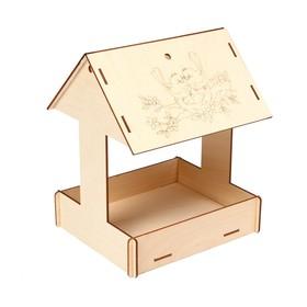 Kopмушка для птиц «Домик с птичкой», 24 × 20 × 17 см