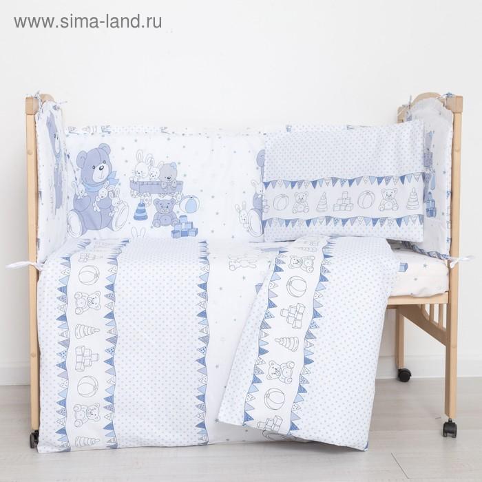 """Комплект в кроватку (6 предметов) """"Мишки и зайки"""", цвет голубой, бязь, хл100%"""