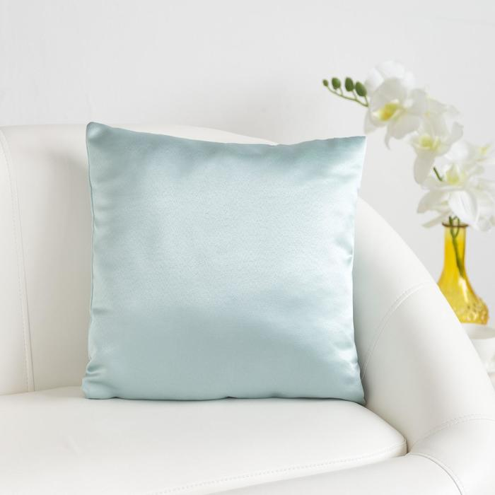 Декоративная подушка «Этель» 40×40 см Дамаск BLUE CLOUD SOLID, 100% п/э