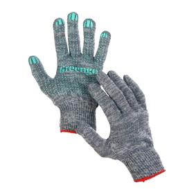Перчатки, х/б, вязка 10 класс, 4 нити, размер 9, с ПВХ точками, серые Ош
