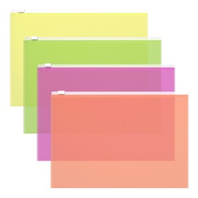 Папка-конверт на гибкой молнии Zip А4, 140 мкм, Fizzy Neon, вместимость 100 листов, тиснение - orange peel, микс