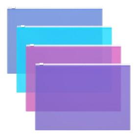 Папка-конверт на гибкой молнии Zip А4, 140 мкм, Fizzy Vivid, вместимость 100 листов, тиснение - orange peel, микс